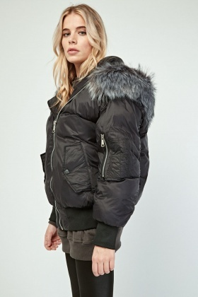 Faux Fur Quilted Coat