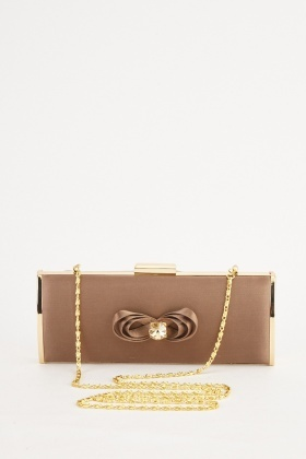 Front Detail Sateen Clutch Bag