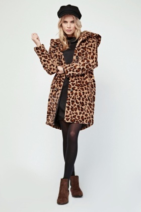 Leopard Print Faux Fur Hooded Coat