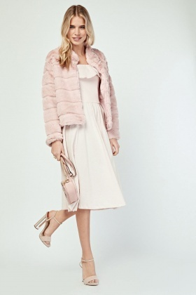 Light Pink Faux Fur Textured Jacket