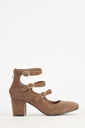 Suedette Buckled Block Heels