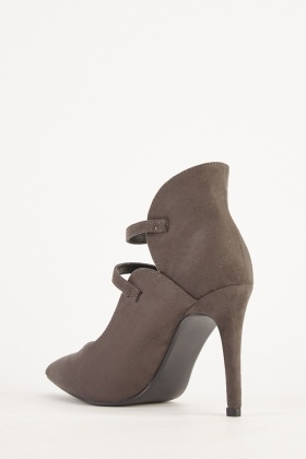 Suedette Twin Buckled Heels