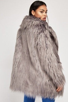 Fluffy Faux Fur Overlay Coat
