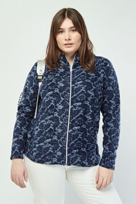 Lace Print Hooded Fleece Jacket