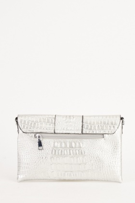 Metallic Mock Croc Clutch Bag