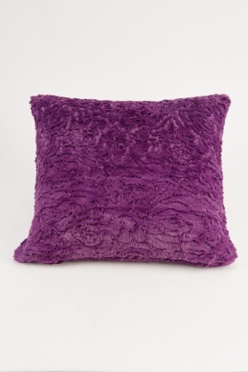 Purple Fluffy Textured Cushion Cover