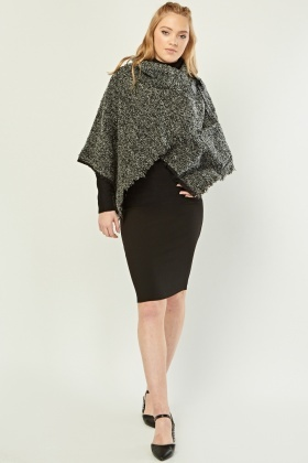 Textured Frayed Edge Tweed Cape