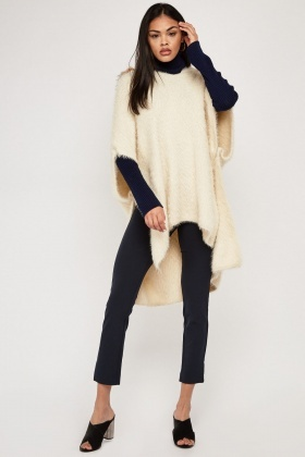 Beige Eyelash Knit Hooded Poncho