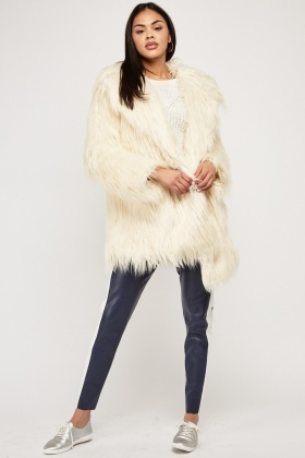 Beige Fluffy Faux Fur Overlay Coat