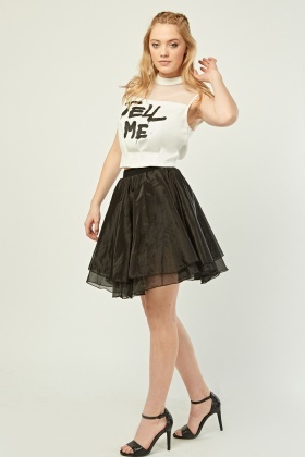 Graphic Printed Top And Tulle Skirt Set