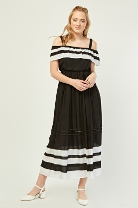 Monochrome Ruffle Maxi Dress