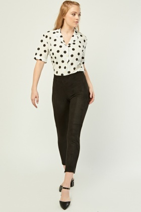Skinny Fit Suedette Trousers