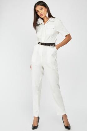 abe92460939e Textured White Utility Jumpsuit .