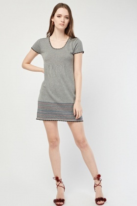 Aztec Patterned Hem Tunic Dress