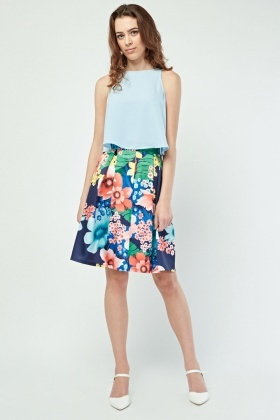 Box Pleated Floral Print Skirt