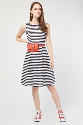 410b0cd29a Box Pleated Sleeveless Skater Dress