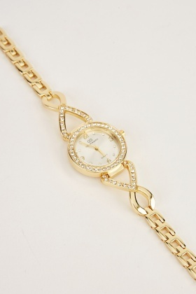 Encrusted Dainty Chain Strap Watch
