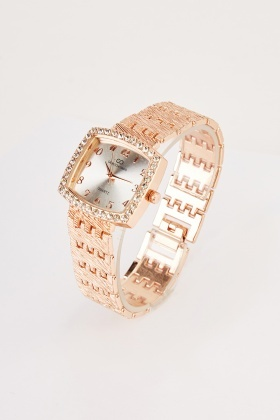 Encrusted Square Face Watch