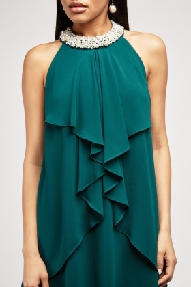 Faux Pearl Neck Halter-Neck Dress