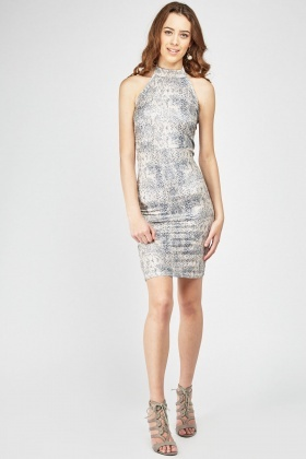 Metallic Snake-Skin Print Midi Dress