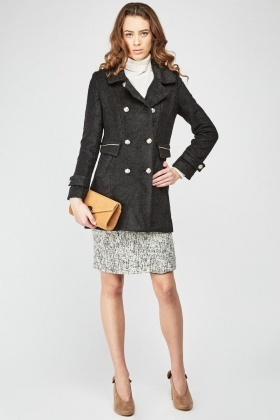 Textured Borg Pea Coat