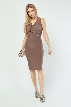 Twisted Draped Front Midi Dress