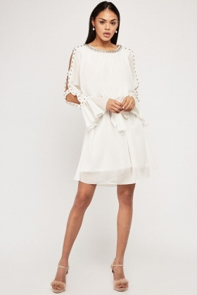 White Embellished Trim Shift Dress