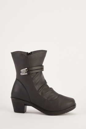 Faux Leather Ruched Boots