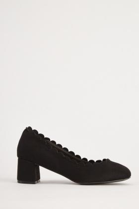 Scallop Trim Suedette Block Heels