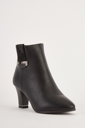 Side Detail Faux Leather Ankle Boots