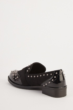 Studded Buckle Front Loafers