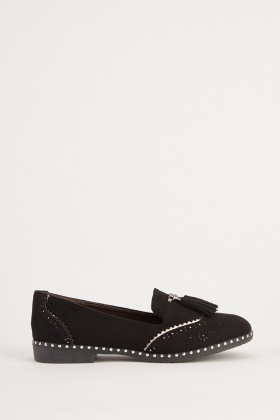 Suedette Perforated Loafers