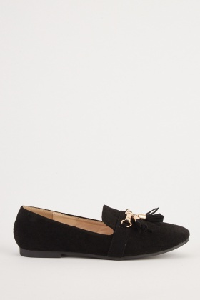 Tassel Front Detail Suedette Loafers