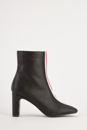 Textured Striped Front Ankle Boots