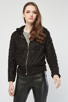 Bobble Knit Textured Hooded Jacket