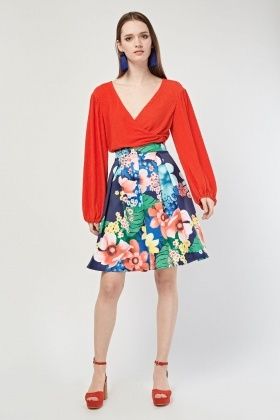Botanical Printed Pleated Skirt
