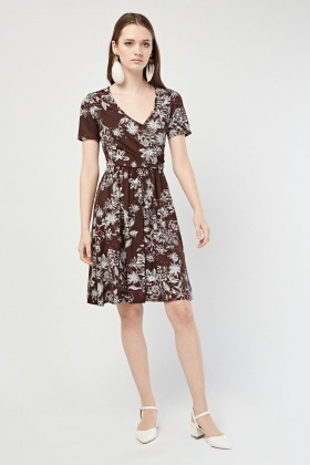 Flower Patterned Wrap Dress