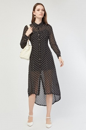 Polka Dotted Shirt Dress