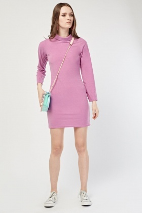 Roll Neck Ribbed Bodycon Dress