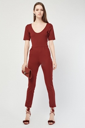 Scoop Neck Maroon Jumpsuit