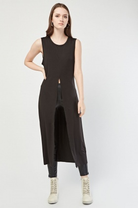Slit Front Long Line Top