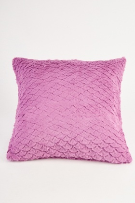 Violet Patterned Fluffy Cushion Cover