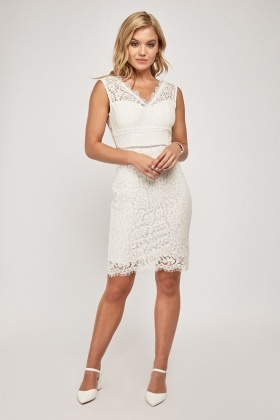 Crochet Trim Lace Bodycon Dress