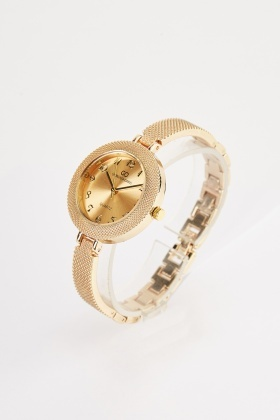 Mesh Strap Round Face Watch