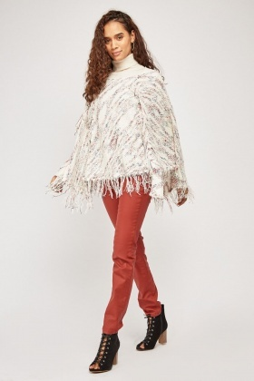 Speckled Fringed Knit Poncho