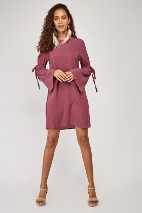 Tie Up Sleeve Tunic Dress