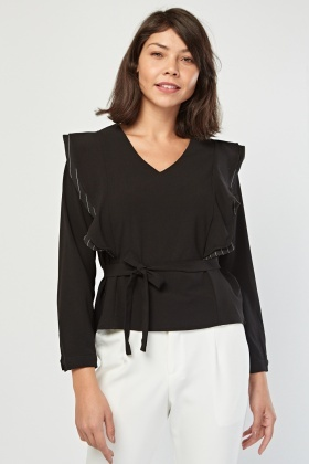 V-Neck Ruffle Trim Top