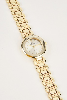 Round Face Stainless Steel Watch