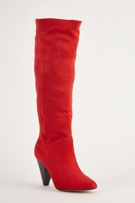 Suedette Red Knee High Boots