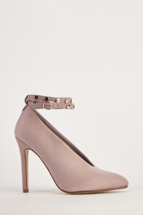 ab791959fc26 Suedette Studded Ankle Strap Heels